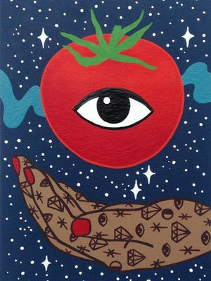 Agnes Barton-Sabo's piece was displayed at the Art and Invention Gallery during the 2016 Tomato Art Fest.