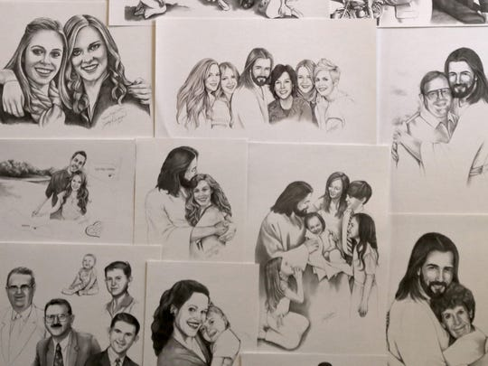 Many of Dotti Durtschi's customers request that she portray their loved ones with Jesus Christ.