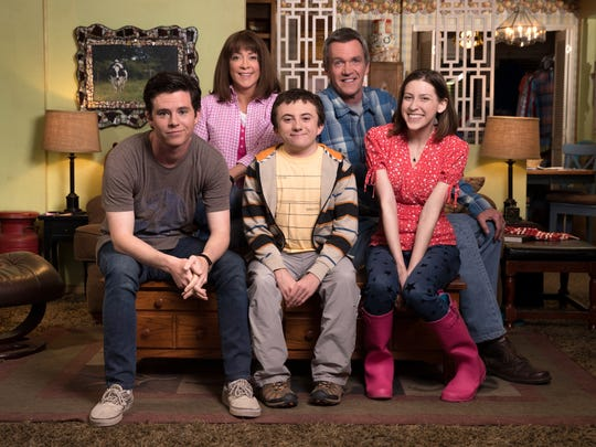 The cast of 'The Middle' - Charlie McDermott, left,