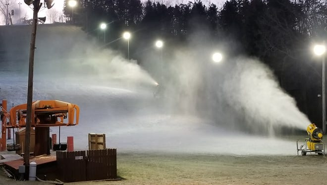 Snowmaking is underway at area ski hills, including Little Switzerland in Slinger.  After several warm weeks, most will be open this weekend, some for the first time this season.