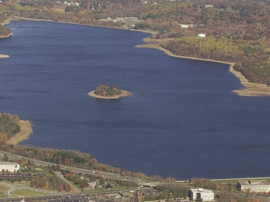 Parsippany--Nov 7--Aerial view of the Jersey City Reservoir.