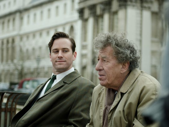 Armie Hammer as James Lord, left, and Geoffrey Rush