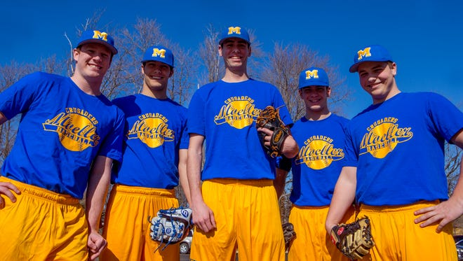 Moeller players Gus Ragland, from left, Riley Mahan, Nick Voss, Zach Logue and TJ Storer lead a Crusaders team ranked No. 1 in the area.