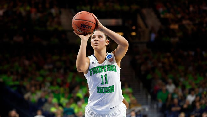 Notre Dame forward Natalie Achonwa shoots against Baylor in the first half of their NCAA women's college basketball tournament regional final game at the Purcell Pavilion in South Bend, Ind., Monday, March 31, 2014.