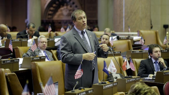 Assemblyman Dennis Gabryszak, D-Cheektowaga, speaks in the Assembly Chamber at the state Capitol.