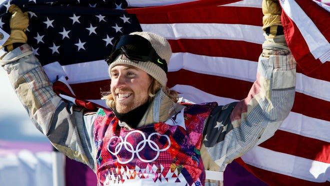 Sage Kotsenburg (USA) celebrates after winning gold in men's slopestyle finals at the Sochi 2014 Olympic Winter Games at Rosa Khutor Extreme Park.