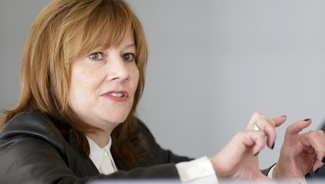 General Motors CEO Mary Barra addresses the media during a roundtable meeting with journalists in Detroit