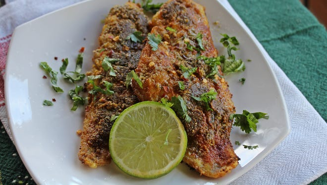 Pecan, Thyme and Coriander-crusted fish.