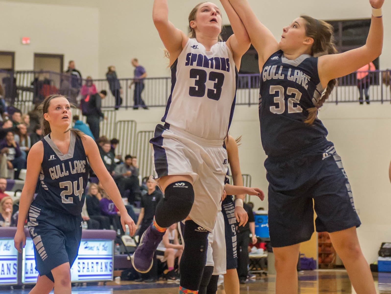 Lakeview's Jessalynn Genier takes her shot against Gull Lake in Friday evening's game.