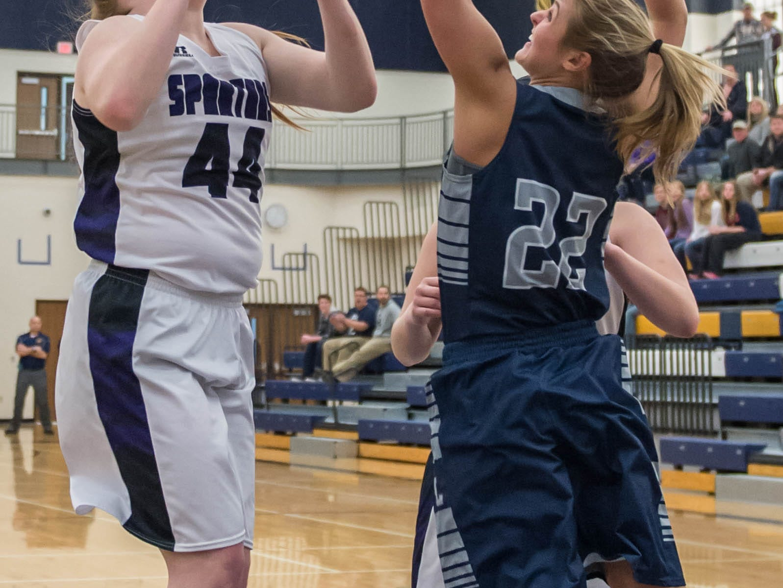 Lakeview's Emily Eldridge (44) goes for the hoop during a district game against Gull Lake Wednesday evening.