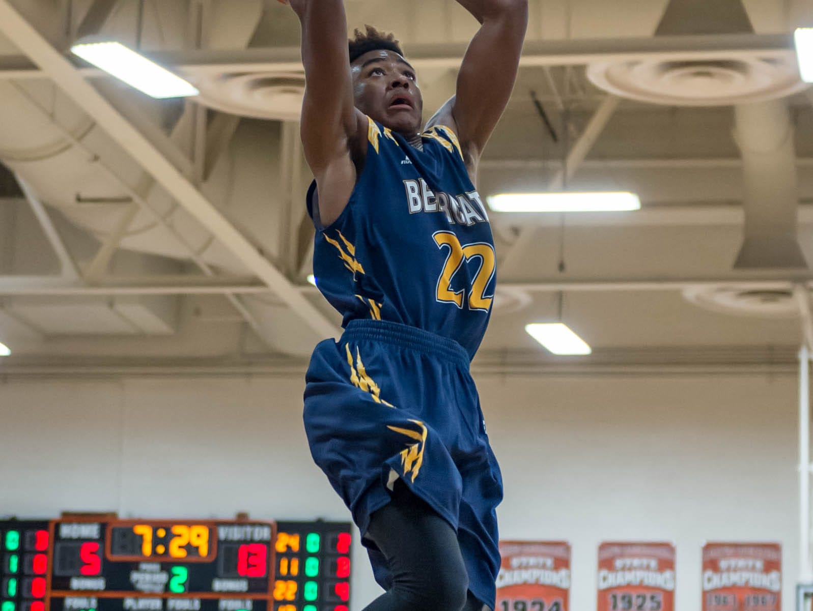 Battle Creek Central's Juan Airall gets the slam dunk against Lakeview Wednesday night.