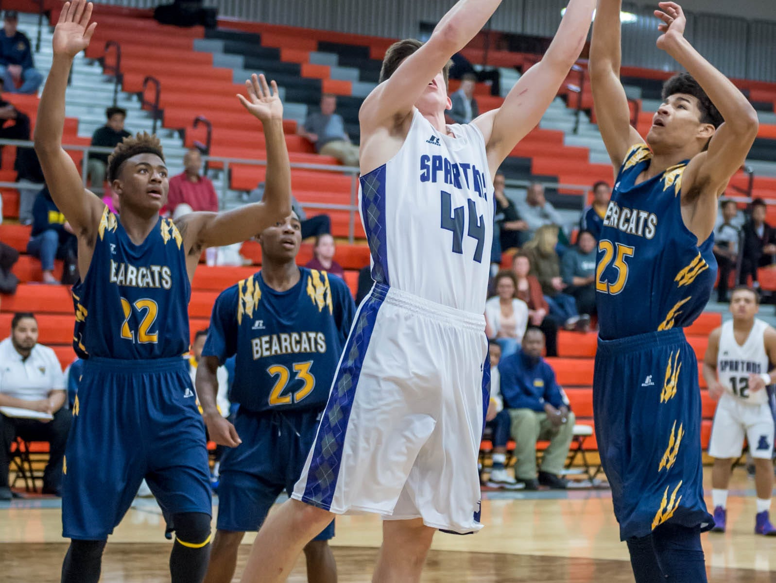 Lakeview's Jared Fisk (44) goes for the hoop against Battle Creek Central Wednesday night.