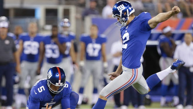 Giants kicker Brandon McManus (2) was traded to the Denver Broncos on Tuesday for a conditional pick in 2015.