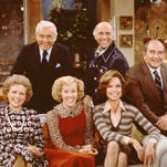 Betty White, left, as Sue Ann Nivens, Ted Knight as Ted Baxter, Georgia Engel, as Georgette Franklin Baxter, Gavin McLeod as Murray Slaughter, Mary Tyler Moore as Mary Richards and Ed Asner as Lou Grant.