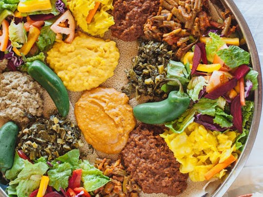 The vegetarian combination at Cafe Lalibela.