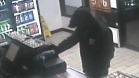 Surveillance footage showing the man who robbed Little Caesars Pizza on Saturday night, according to the Staunton Police Department.