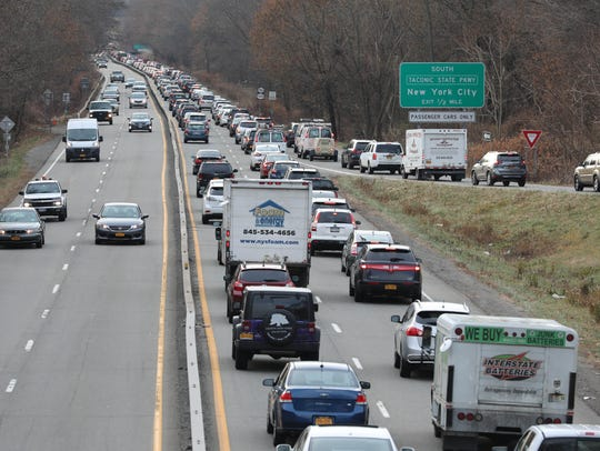 Traffic backs up on southbound Route 9A near the entrance