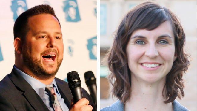 David Schapira (left) and Kathy Hoffman are Democratic candidates for Arizona education superintendent.