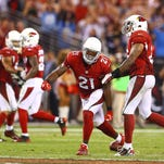 Cardinals cornerback Patrick Peterson (21) celebrates in the final seconds of the game against the San Diego Chargers at University of Phoenix Stadium.