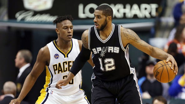 LaMarcus Aldridge  is guarded by Myles Turner at Bankers