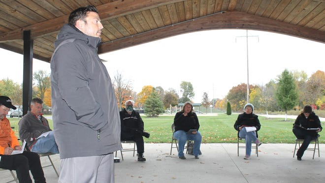 Paul Elia, director of operations at Speedrack, addressed Quincy Village Council at Tuesday's meeting held at Quincy Village Park.