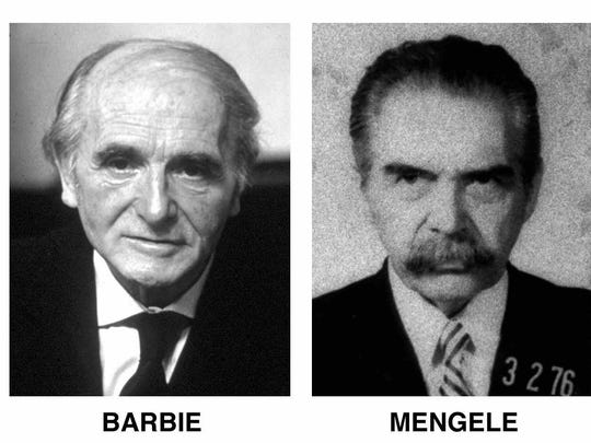 Former Nazis Klaus Barbie and Josef Mengele.