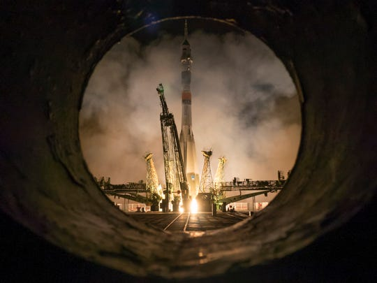 The Soyuz-FG rocket booster with Soyuz TMA-16M space ship carrying a new crew to the International Space Station, ISS, blasts off at the Russian leased Baikonur cosmodrome, Kazakhstan, Saturday, March 28, 2015.  The Russian rocket carries U.S. astronaut Scott Kelly, Russian cosmonauts Gennady Padalka, and Mikhail Korniyenko.