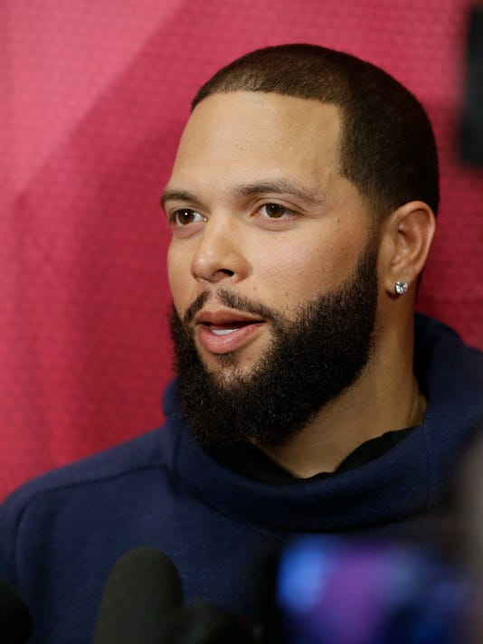 Cleveland Cavaliers' Deron Williams talks with the media before an NBA basketball game between the Milwaukee Bucks and the Cavaliers, Monday, Feb. 27, 2017, in Cleveland. Williams, an Olympian and three-time All-Star who has never made it to the NBA Finals, signed as a free agent on Monday with the Cavs, giving the defending champions the backup point guard they've coveted and another playmaker to help them defend their title. (AP Photo/Tony Dejak)