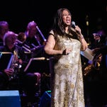 Aretha Franklin leads a 19-piece band through a 90-minute show at the Riverside Theater Friday night.