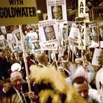 Delegates cheer for the party's nominee, Barry Goldwater, in this photo taken at the Republican National Convention on July 15, 1964. It was published in the July 16, 1964, Milwaukee Journal.