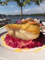 Black Grouper, citrus beet risotto, shaved organic