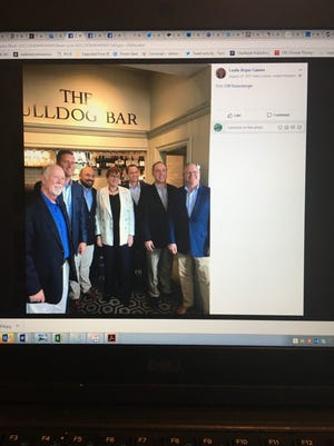 Ohio Speaker Cliff Rosenberger, third from left, shown in a Facebook post by lobbyist Leslie Gaines on a trip to London in August 2017.