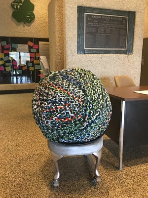 Somerset County 4-H club's braid of textile rolled up into a ball. The braid will be measured on May 6 at the Bridgewater Commons Mall.