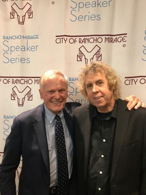Tab Hunter and Bruce Fessier after a talk at the Rancho Mirage Speakers Series in March 2018.