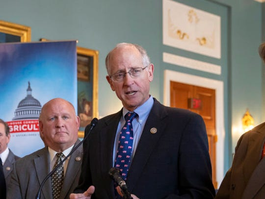House Agriculture Committee Chairman Mike Conaway, R-Texas, and other Republican members of the panel announces the new farm bill, officially known as the 2018 Agriculture and Nutrition Act, at a news conference on Capitol Hill in Washington, Thursday, April 12, 2018. The bulk of the bill's spending goes toward funding SNAP, the Supplemental Nutrition Assistance Program. From left are Rep. David Rouzer R-N.C., Rep. Jodey Arrington, R-Texas, Rep. James Comer, R-Ky., Rep. Scott DesJarlais, R-Tenn., Vice Chairman Glenn Thompson, R-Pa., Chairman Mike Conaway, R-Texas, and Rep. John Faso, R-N.Y.