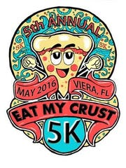 The logo for the 5th Annual Eat My Crust 5K.