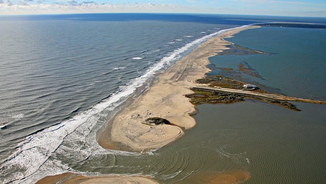 A view of Assateague Island's beach at Tom's Cove after Hurricane Sandy passed through the area. The inlet was short-lived, filling back in with sand, but it provides a preview of what future storms could bring.