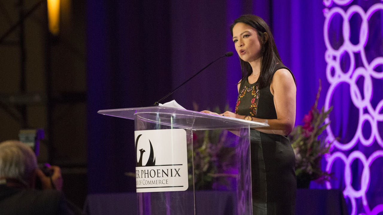 Mi-Ai Parrish, president of Republic Media, describes women as she accepts the 2017 ATHENA Businesswoman of the Year Award. Nicole Carroll/azcentral.com