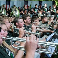 Members of the MSU Marching Band play at the joint fundraiser for the band and Sparrow Hospital Sunday, September 25, 2016.