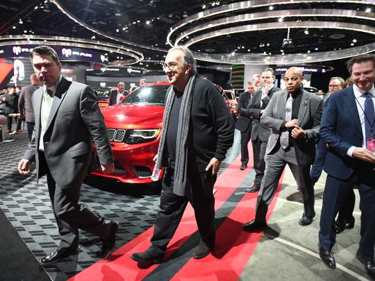 Fiat Chrysler CEO Sergio Marchionne walks the North American International Auto Show at Cobo Center in Detroit, Michigan on January 15, 2018.