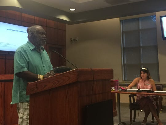 Winston Chandler speaks at a public hearing on short-term