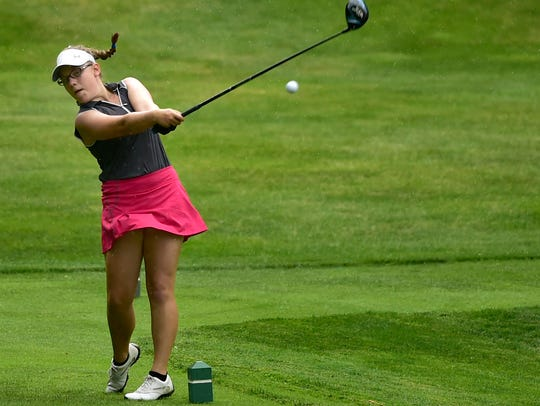 Amanda Steier tees off during the Franklin County Junior