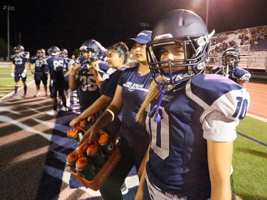 Del Valle kicker Love' Tovar at their scrimmage game against Eastwood Friday night in their home field.