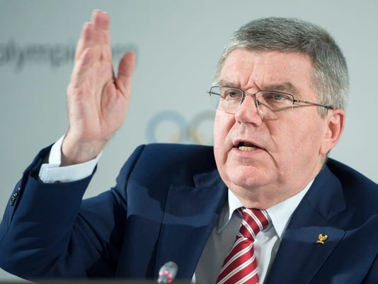 International Olympic Committee (IOC) president Thomas Bach, from Germany, speaks during the closing of the executive board meeting of the IOC in Lausanne, Switzerland, Friday, June 3, 2016. (Martial Trezzini/Keystone via AP)