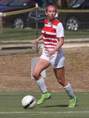 Louisiana Tech senior forward Katie Sloan looks up with the ball during a 2-0 win over UT San Antonio last season.