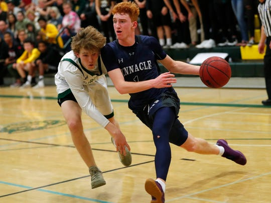 Phoenix Pinnacle's Nico Mannion dribbles past a defender during 2017-18 season.