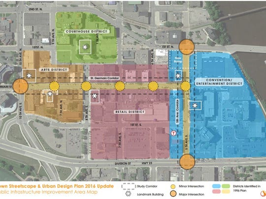 The downtown streetscape and urban design plan shows four districts in downtown St. Cloud.