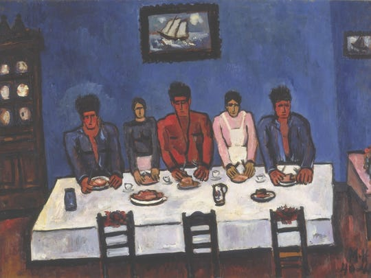 Marsden Hartley, Fishermen's Last Supper, Nova Scotia, 1940-41. On view in the Neuberger Museum of Art's 40th anniversary celebration exhibition: When Modern Was Contemporary.