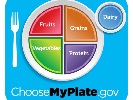 Health officials suggest building a meal around the ChooseMyPlate.gov example.