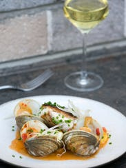 Seared Blue Nose Sea Bass with a white wine clam sauce